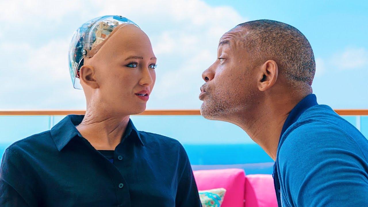 Уилл Смит и робот София на свидании фото