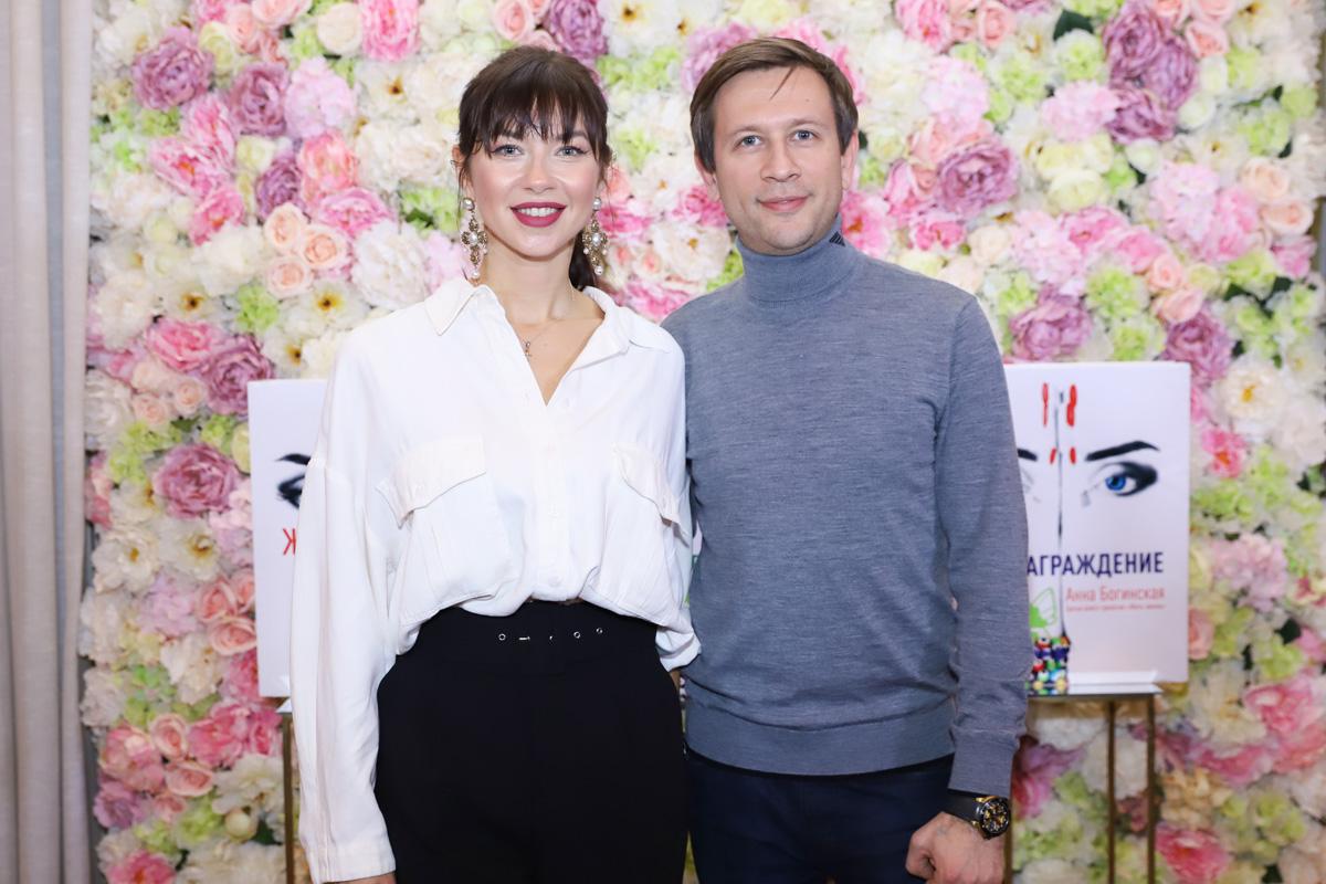 Дмитрий Ступка и Полин Логунова на презентации романа «Код: Вознаграждение»