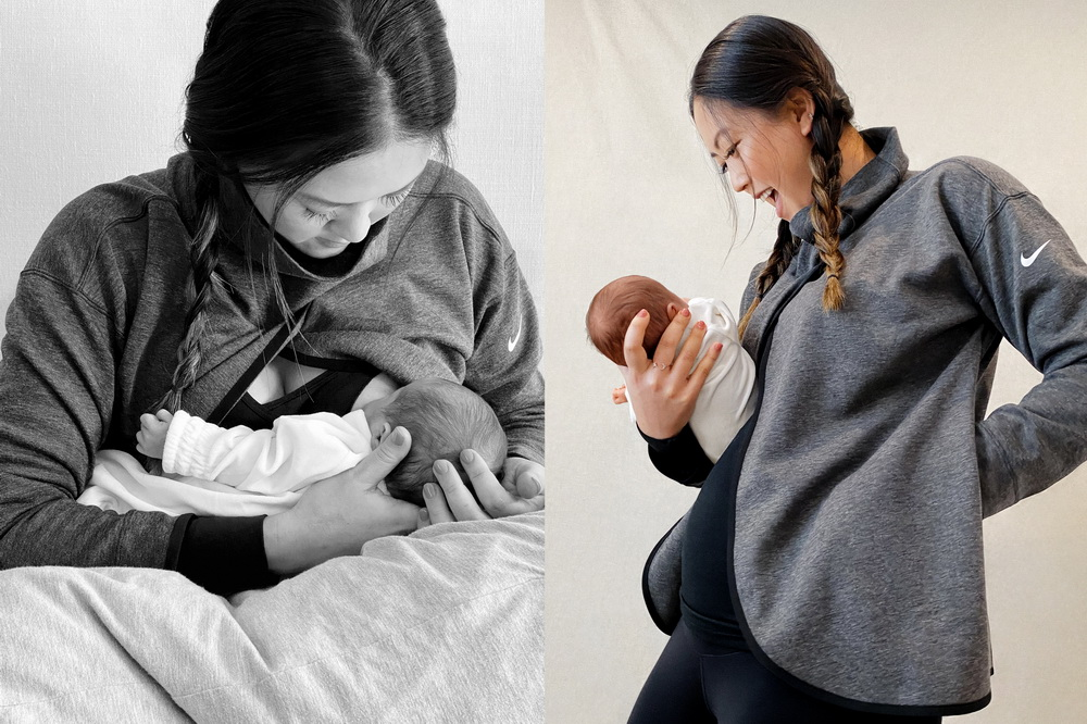 фото Гольфистки Мишель Сон Ви с дочкой в спортивном бюстгальтере, кофте, леггинсах и майке Nike (M)