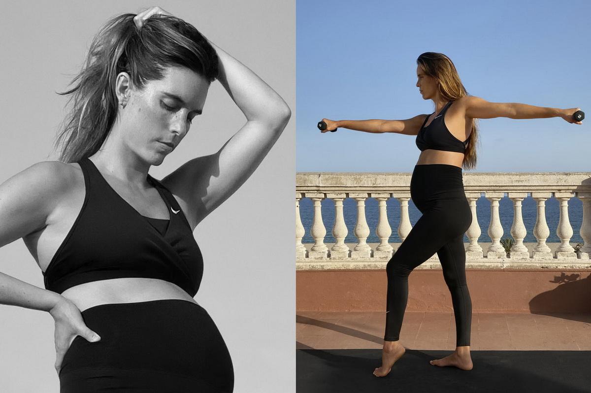 Беременная Она Карбонель тренируется в леггинсах Nike (M) и спортивном бюстгальтере