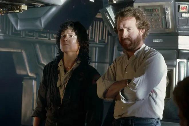 """фото Сигурни Уивер и Ридли Скотт на съемках """"Alien"""""""
